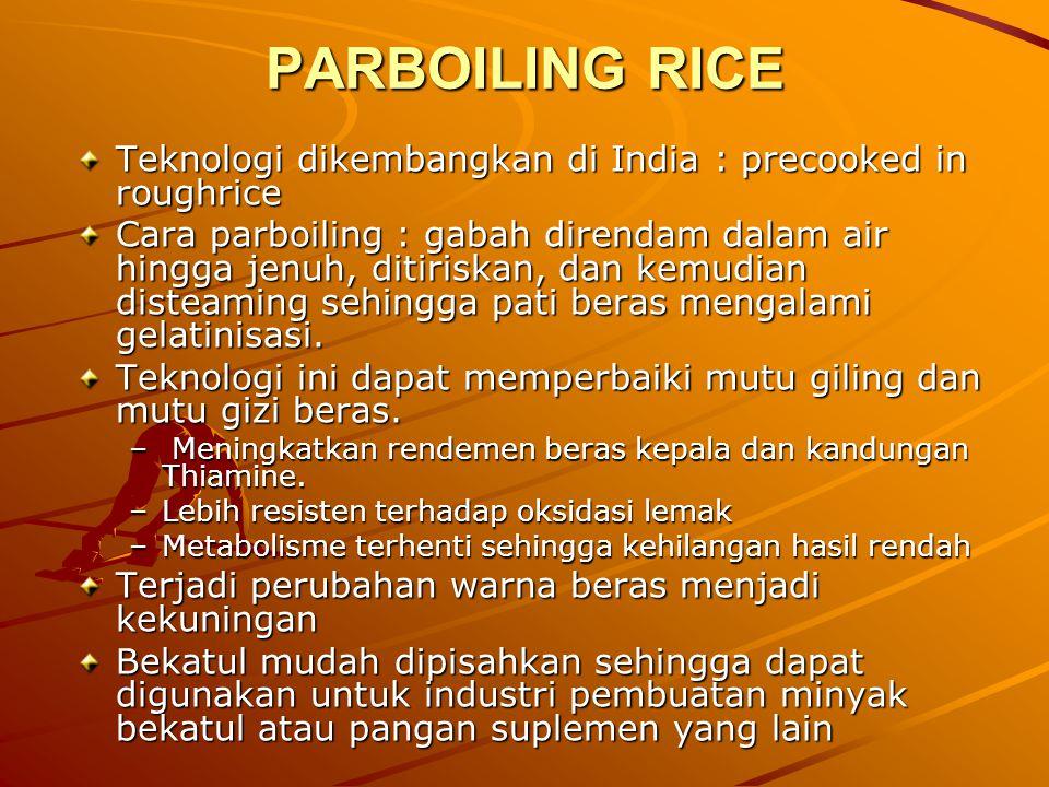 PARBOILING RICE Teknologi dikembangkan di India : precooked in roughrice.