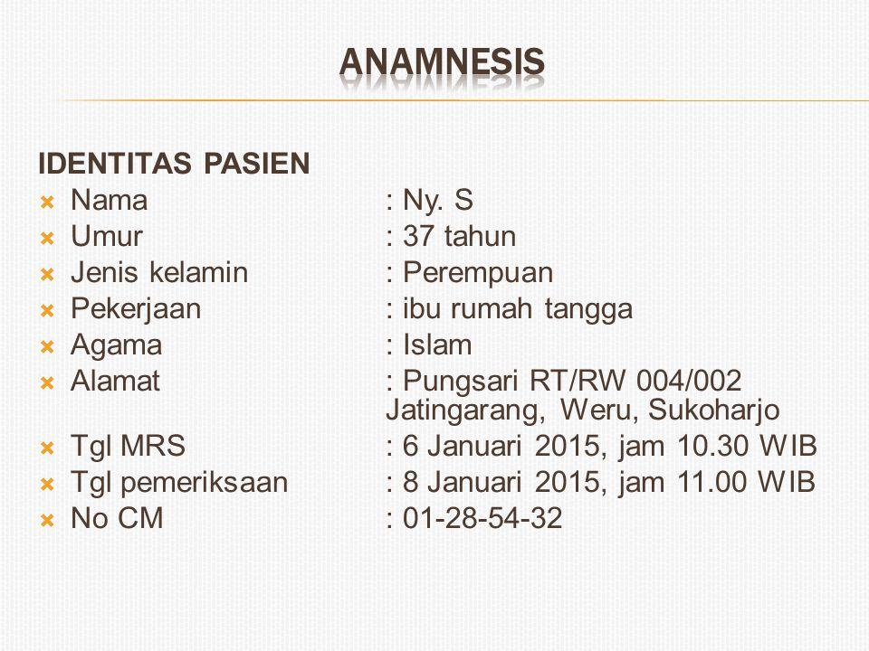 ANAMNESIS IDENTITAS PASIEN Nama : Ny. S Umur : 37 tahun