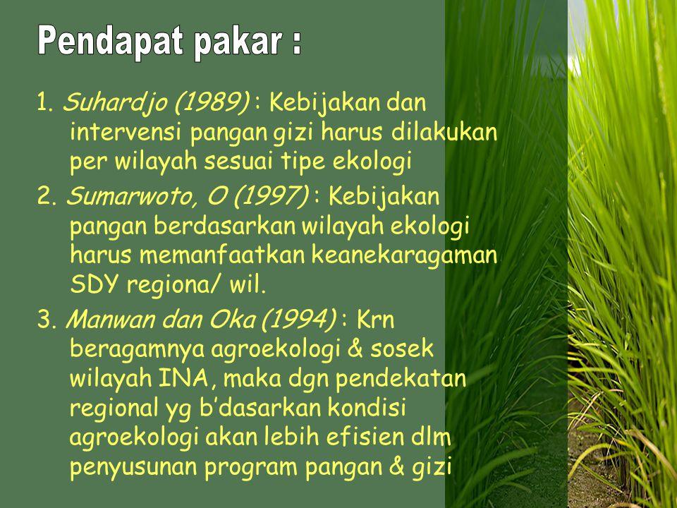 Pendapat pakar : 1. Suhardjo (1989) : Kebijakan dan intervensi pangan gizi harus dilakukan per wilayah sesuai tipe ekologi.