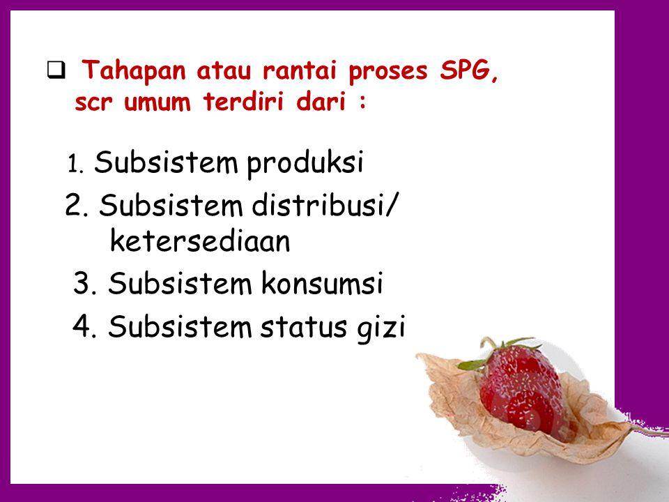 2. Subsistem distribusi/ ketersediaan 3. Subsistem konsumsi