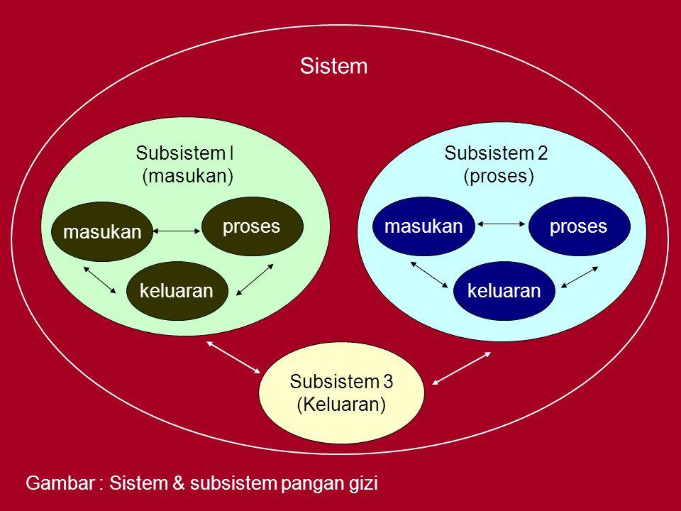 Sistem Subsistem I (masukan) Subsistem 2 (proses) proses masukan