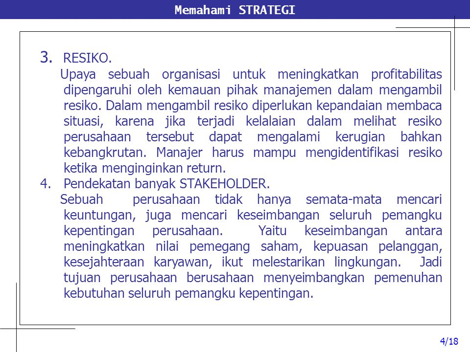 Memahami STRATEGI 3. RESIKO.