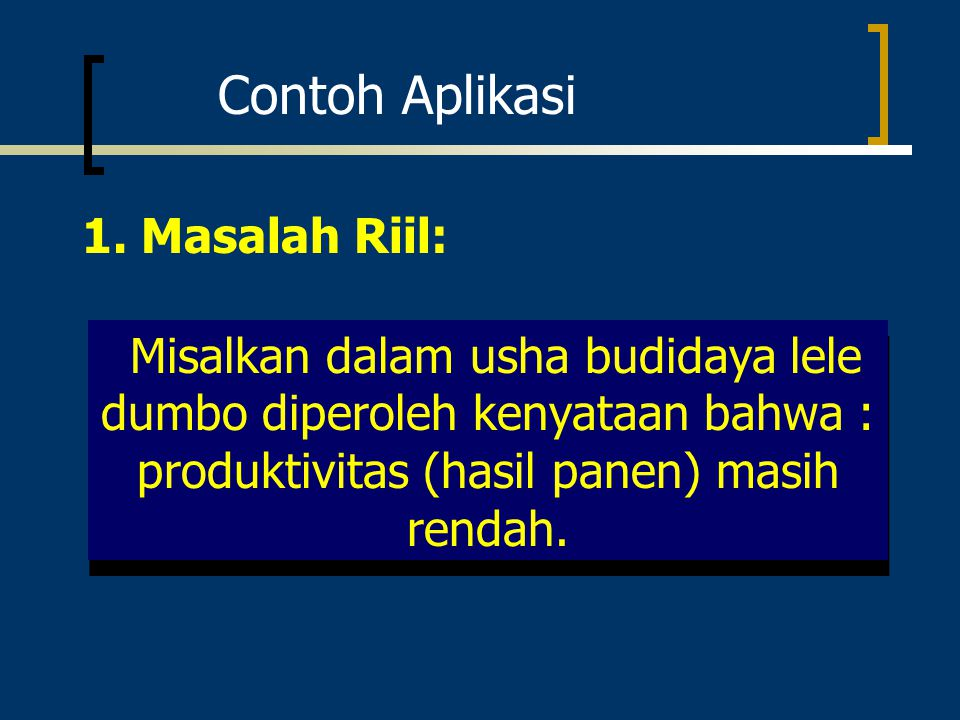 Contoh Aplikasi 1. Masalah Riil: