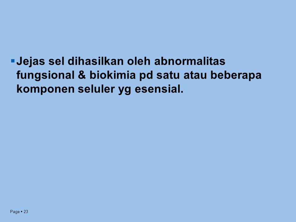Jejas sel dihasilkan oleh abnormalitas fungsional & biokimia pd satu atau beberapa komponen seluler yg esensial.