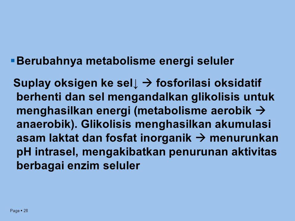 Berubahnya metabolisme energi seluler