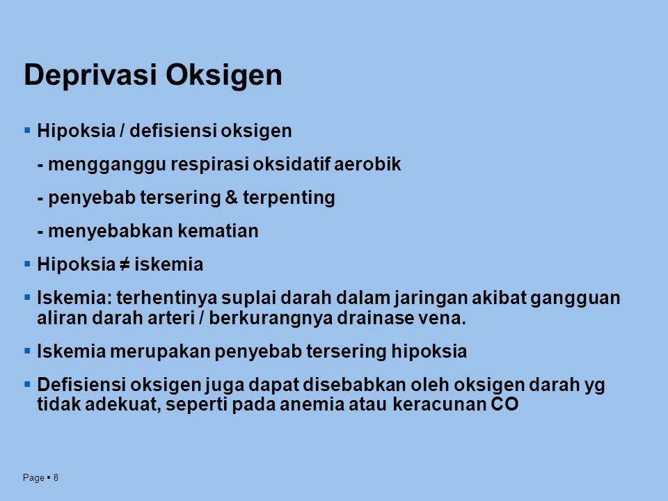 Deprivasi Oksigen Hipoksia / defisiensi oksigen