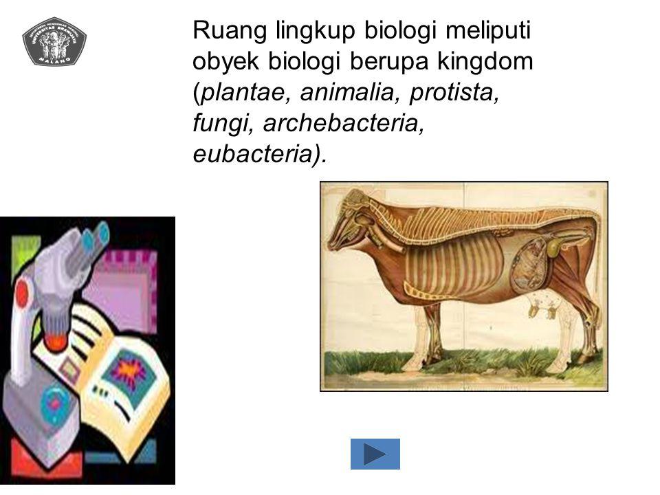 Ruang lingkup biologi meliputi obyek biologi berupa kingdom (plantae, animalia, protista, fungi, archebacteria, eubacteria).