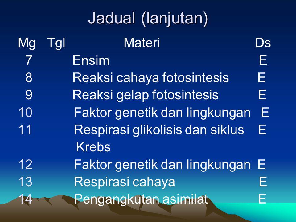 Jadual (lanjutan) Mg Tgl Materi Ds 7 Ensim E