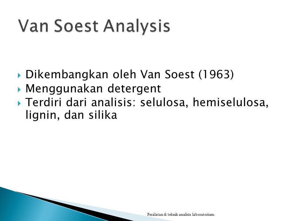 Van Soest Analysis Dikembangkan oleh Van Soest (1963)
