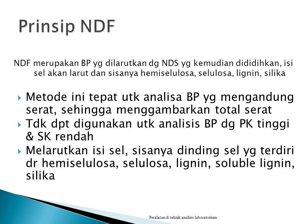 Prinsip NDF NDF merupakan BP yg dilarutkan dg NDS yg kemudian dididihkan, isi sel akan larut dan sisanya hemiselulosa, selulosa, lignin, silika.
