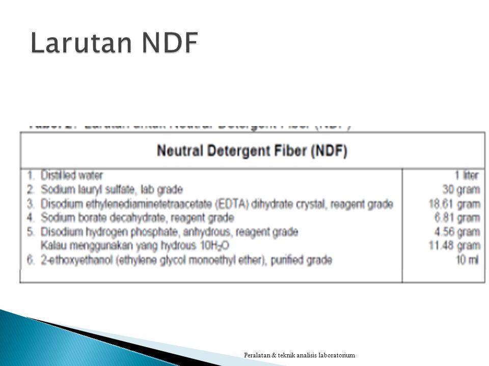 Larutan NDF Peralatan & teknik analisis laboratorium