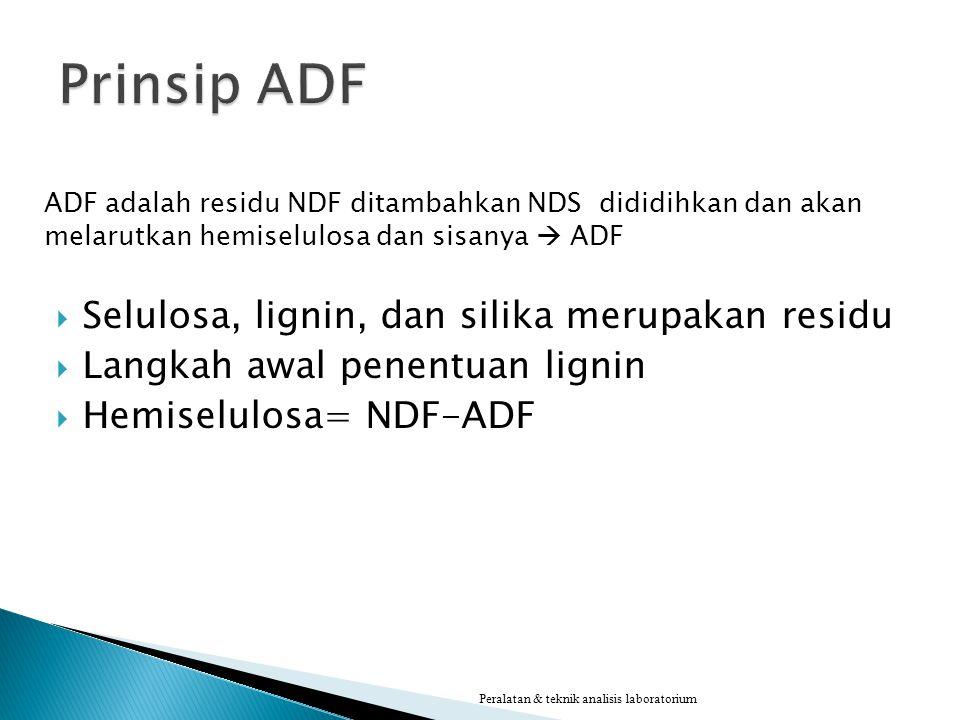 Prinsip ADF Selulosa, lignin, dan silika merupakan residu