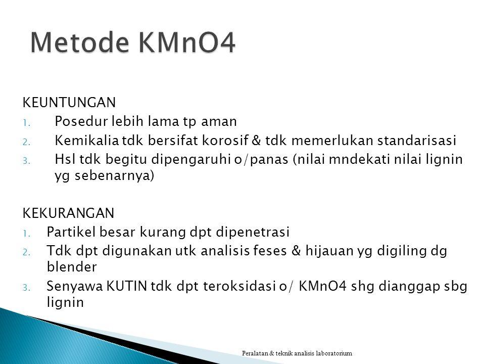 Metode KMnO4 KEUNTUNGAN Posedur lebih lama tp aman