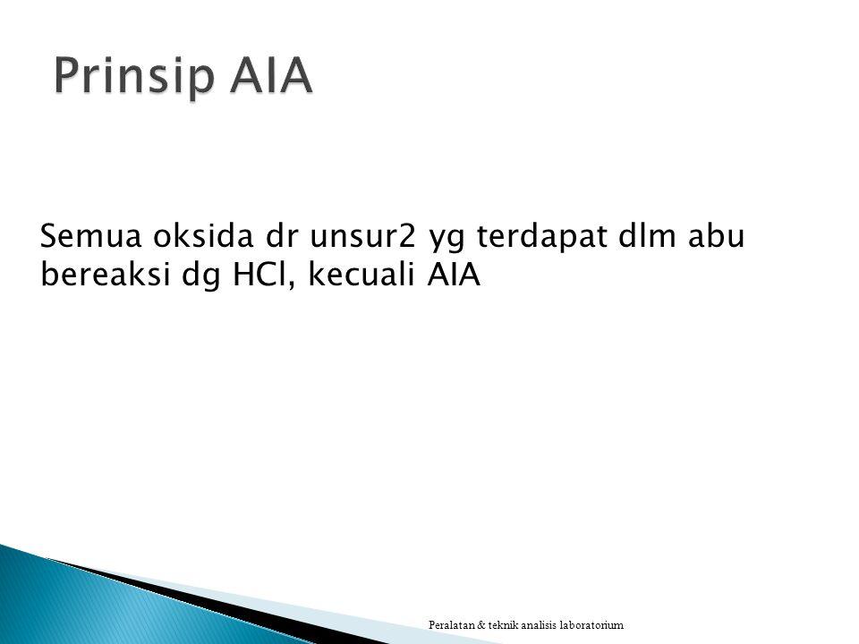 Prinsip AIA Semua oksida dr unsur2 yg terdapat dlm abu bereaksi dg HCl, kecuali AIA.