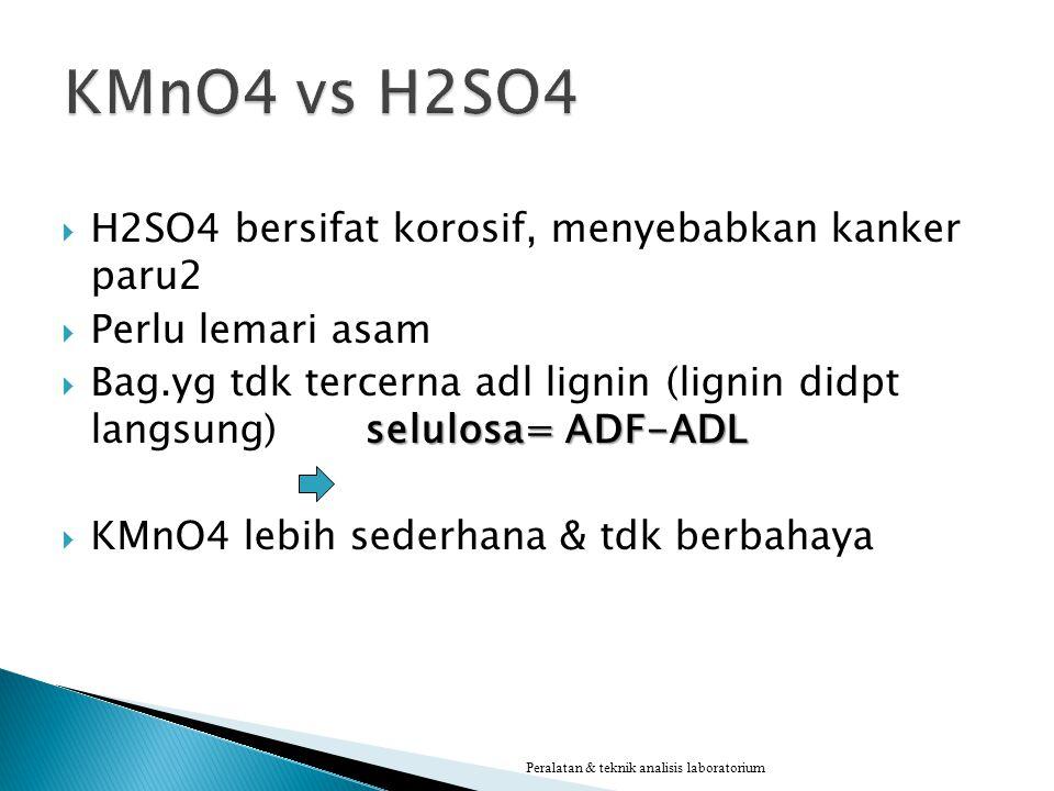 KMnO4 vs H2SO4 H2SO4 bersifat korosif, menyebabkan kanker paru2