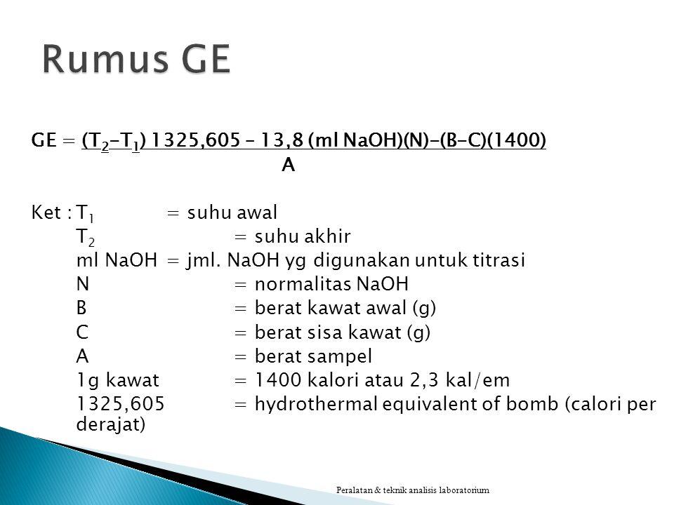 Rumus GE GE = (T2-T1) 1325,605 – 13,8 (ml NaOH)(N)-(B-C)(1400) A