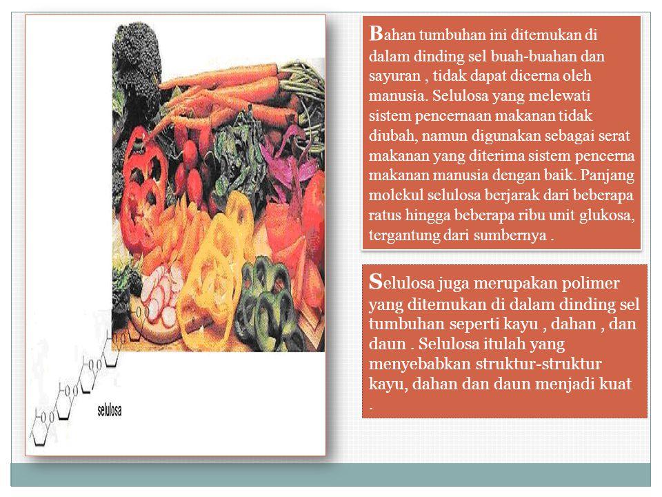 Bahan tumbuhan ini ditemukan di dalam dinding sel buah-buahan dan sayuran , tidak dapat dicerna oleh manusia. Selulosa yang melewati sistem pencernaan makanan tidak diubah, namun digunakan sebagai serat makanan yang diterima sistem pencerna makanan manusia dengan baik. Panjang molekul selulosa berjarak dari beberapa ratus hingga beberapa ribu unit glukosa, tergantung dari sumbernya .