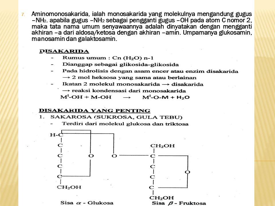 Aminomonosakarida, ialah monosakarida yang molekulnya mengandung gugus –NH2.