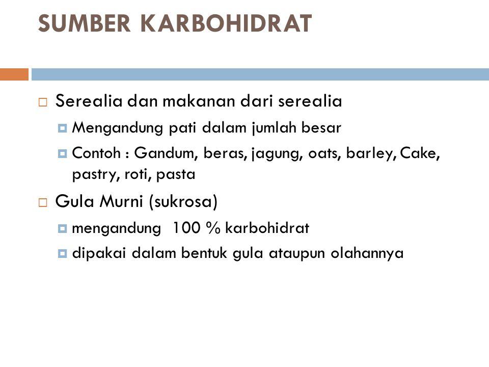 SUMBER KARBOHIDRAT Serealia dan makanan dari serealia
