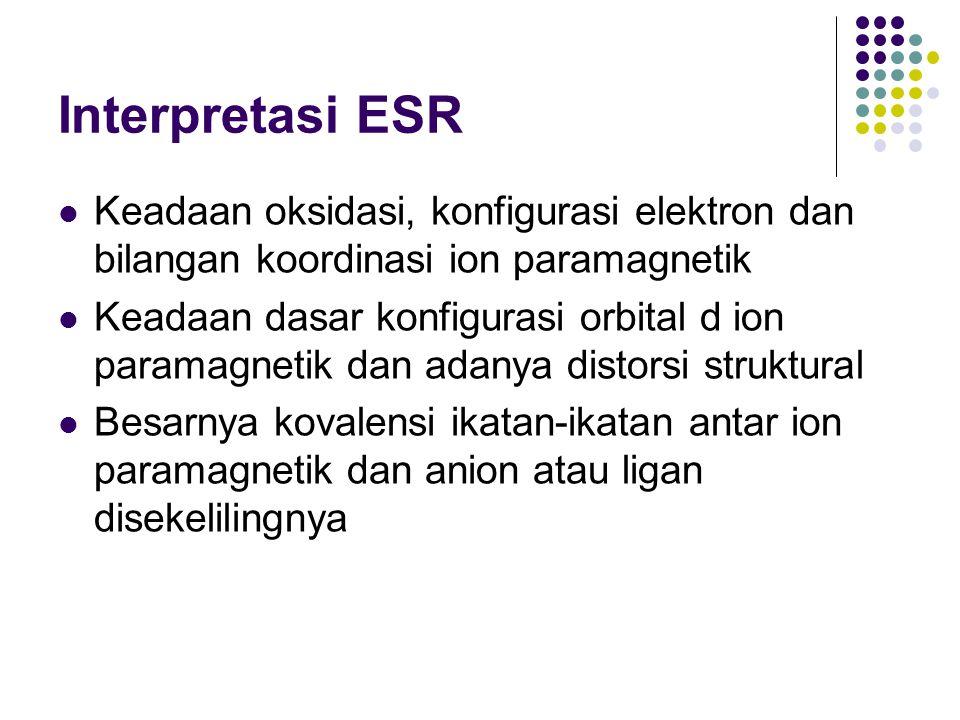 Interpretasi ESR Keadaan oksidasi, konfigurasi elektron dan bilangan koordinasi ion paramagnetik.