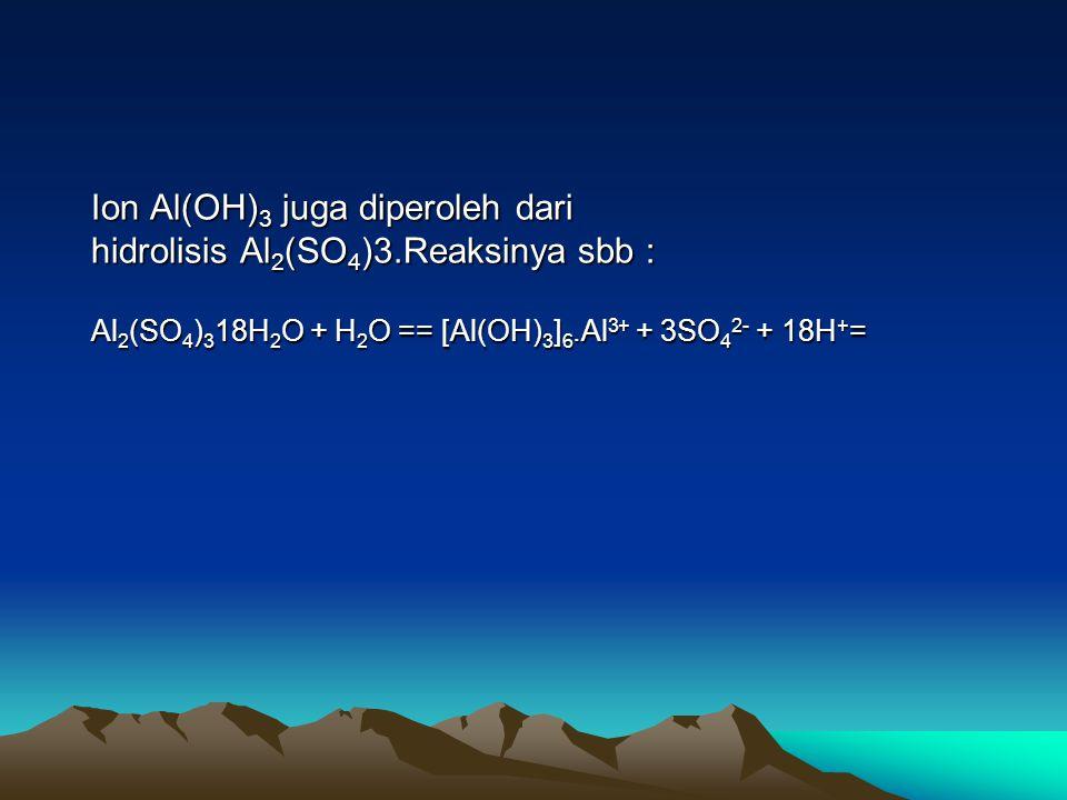 Ion Al(OH)3 juga diperoleh dari hidrolisis Al2(SO4)3