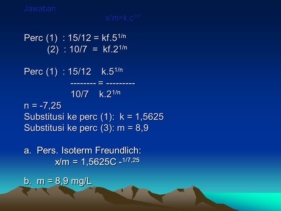 Jawaban : x/m=k. c1/n Perc (1) : 15/12 = kf. 51/n (2) : 10/7 = kf