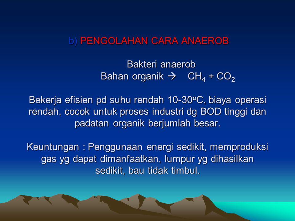 b) PENGOLAHAN CARA ANAEROB Bakteri anaerob Bahan organik  CH4 + CO2 Bekerja efisien pd suhu rendah 10-30oC, biaya operasi rendah, cocok untuk proses industri dg BOD tinggi dan padatan organik berjumlah besar.