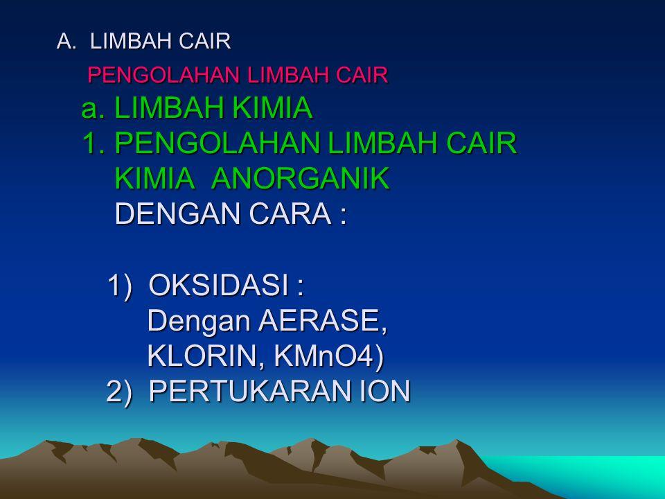 A. LIMBAH CAIR PENGOLAHAN LIMBAH CAIR a. LIMBAH KIMIA 1