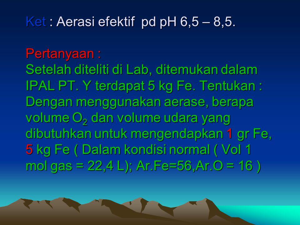 Ket : Aerasi efektif pd pH 6,5 – 8,5