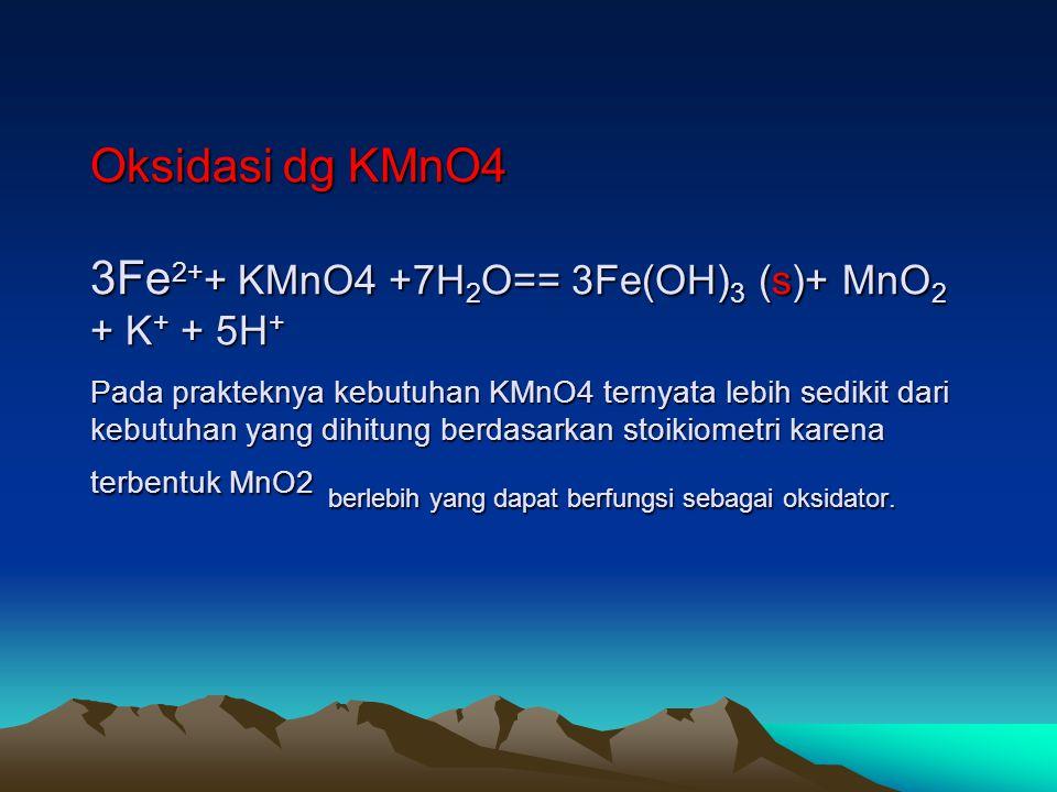 Oksidasi dg KMnO4 3Fe2++ KMnO4 +7H2O== 3Fe(OH)3 (s)+ MnO2 + K+ + 5H+ Pada prakteknya kebutuhan KMnO4 ternyata lebih sedikit dari kebutuhan yang dihitung berdasarkan stoikiometri karena terbentuk MnO2 berlebih yang dapat berfungsi sebagai oksidator.