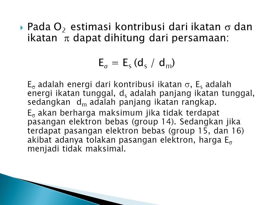 Pada O2 estimasi kontribusi dari ikatan  dan ikatan  dapat dihitung dari persamaan: