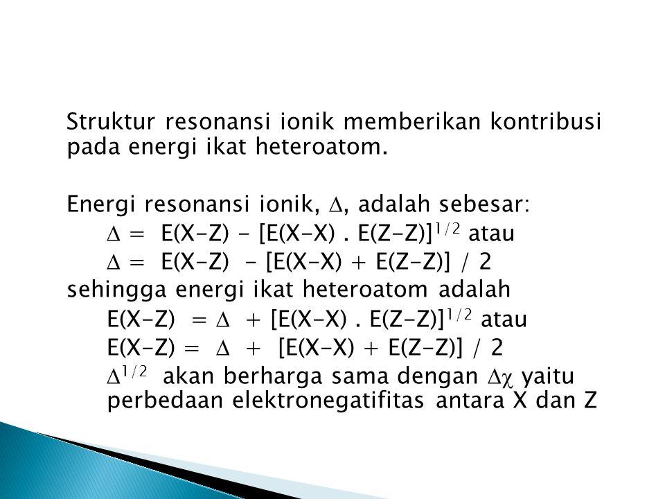 Struktur resonansi ionik memberikan kontribusi pada energi ikat heteroatom.
