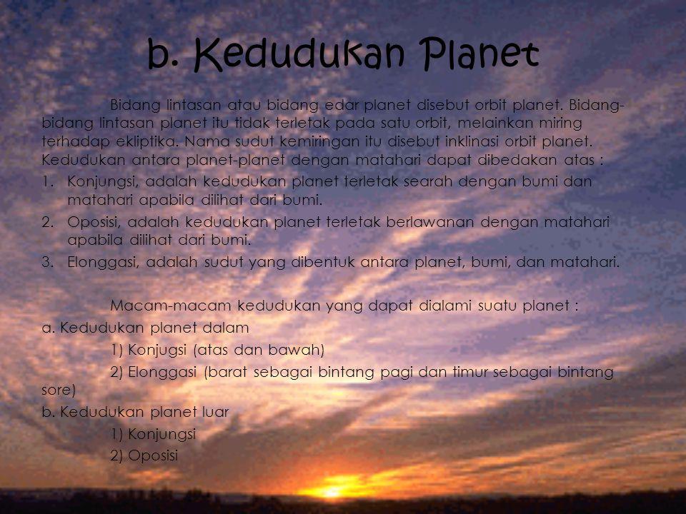 b. Kedudukan Planet