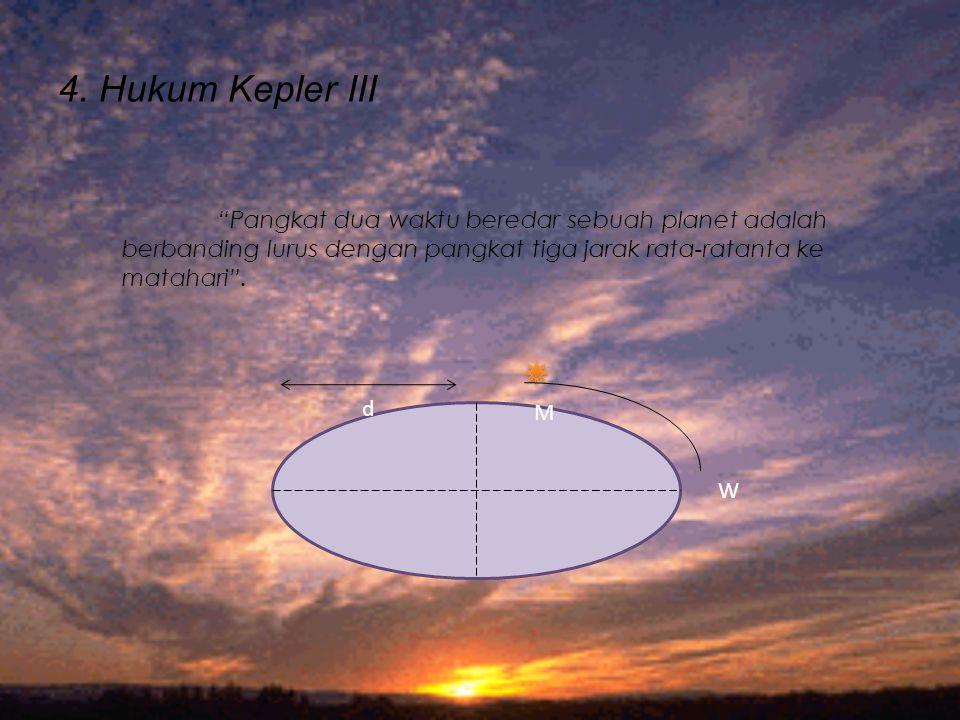 4. Hukum Kepler III Pangkat dua waktu beredar sebuah planet adalah berbanding lurus dengan pangkat tiga jarak rata-ratanta ke matahari .