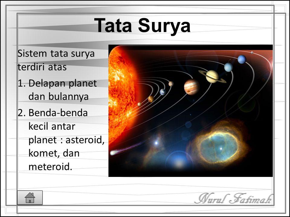 Tata Surya Sistem tata surya terdiri atas Delapan planet dan bulannya
