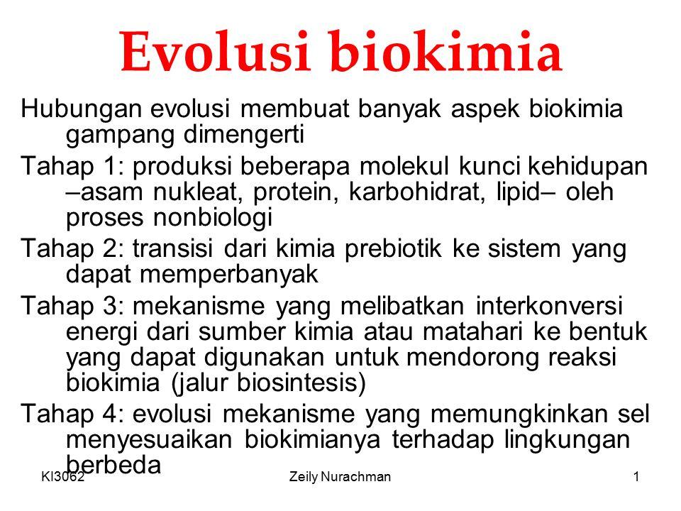 Evolusi biokimia Hubungan evolusi membuat banyak aspek biokimia gampang dimengerti.
