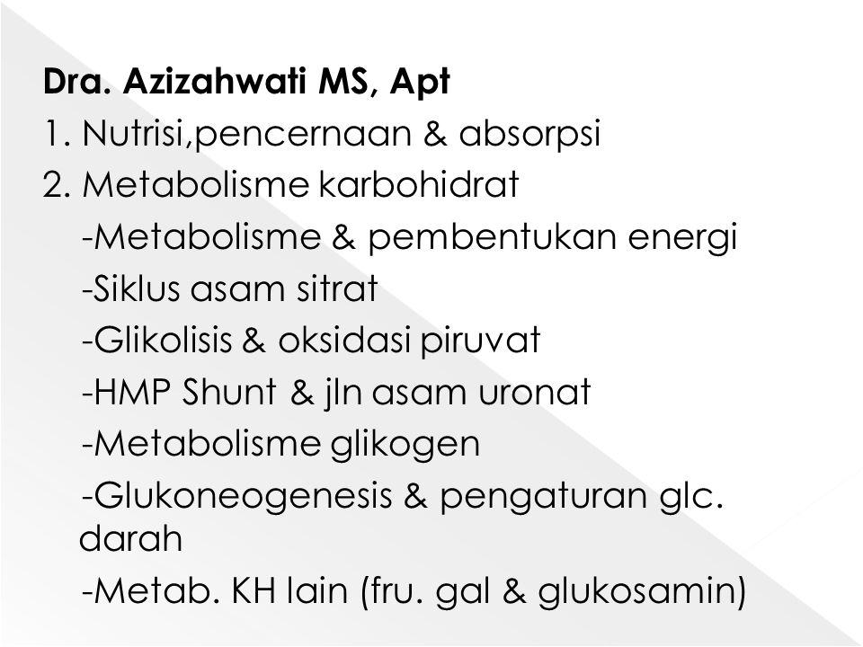 Dra. Azizahwati MS, Apt 1. Nutrisi,pencernaan & absorpsi 2