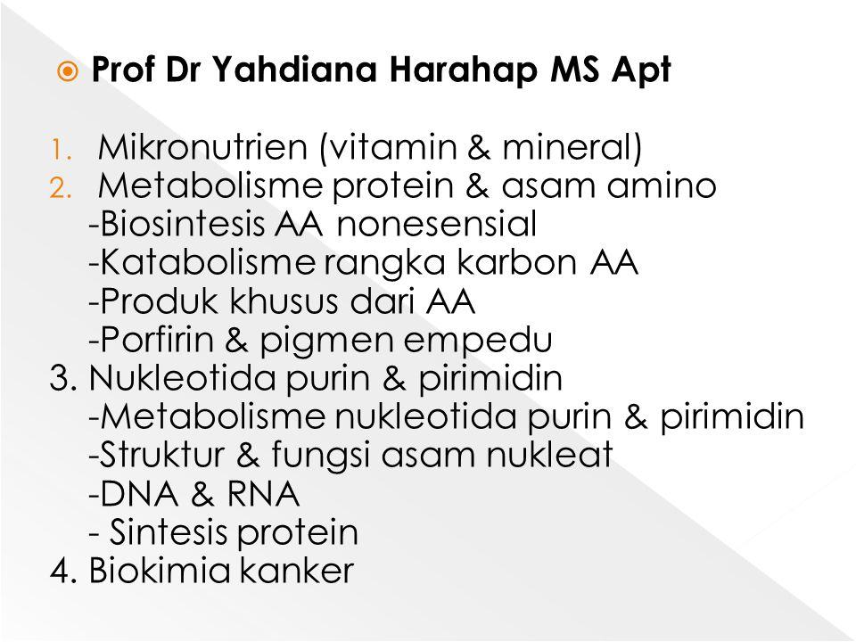 Prof Dr Yahdiana Harahap MS Apt