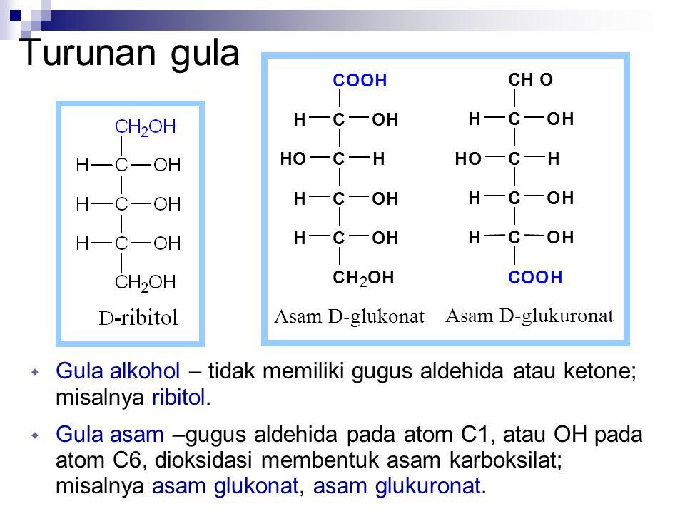 Turunan gula C. O. H. Asam D-glukonat. Asam D-glukuronat. 2. Gula alkohol – tidak memiliki gugus aldehida atau ketone; misalnya ribitol.