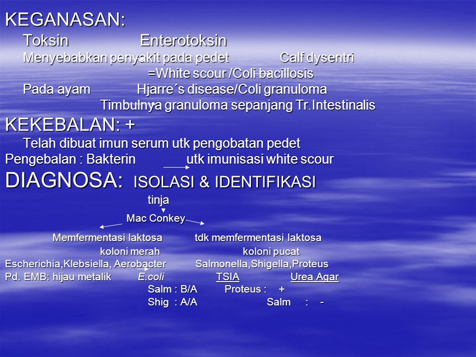 DIAGNOSA: ISOLASI & IDENTIFIKASI