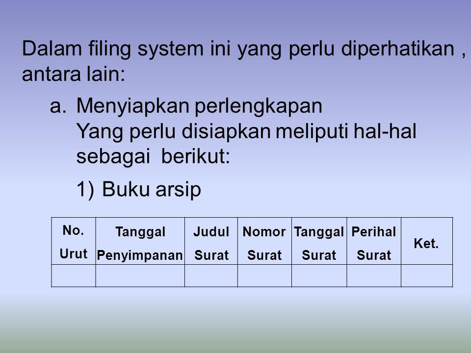 Dalam filing system ini yang perlu diperhatikan , antara lain: