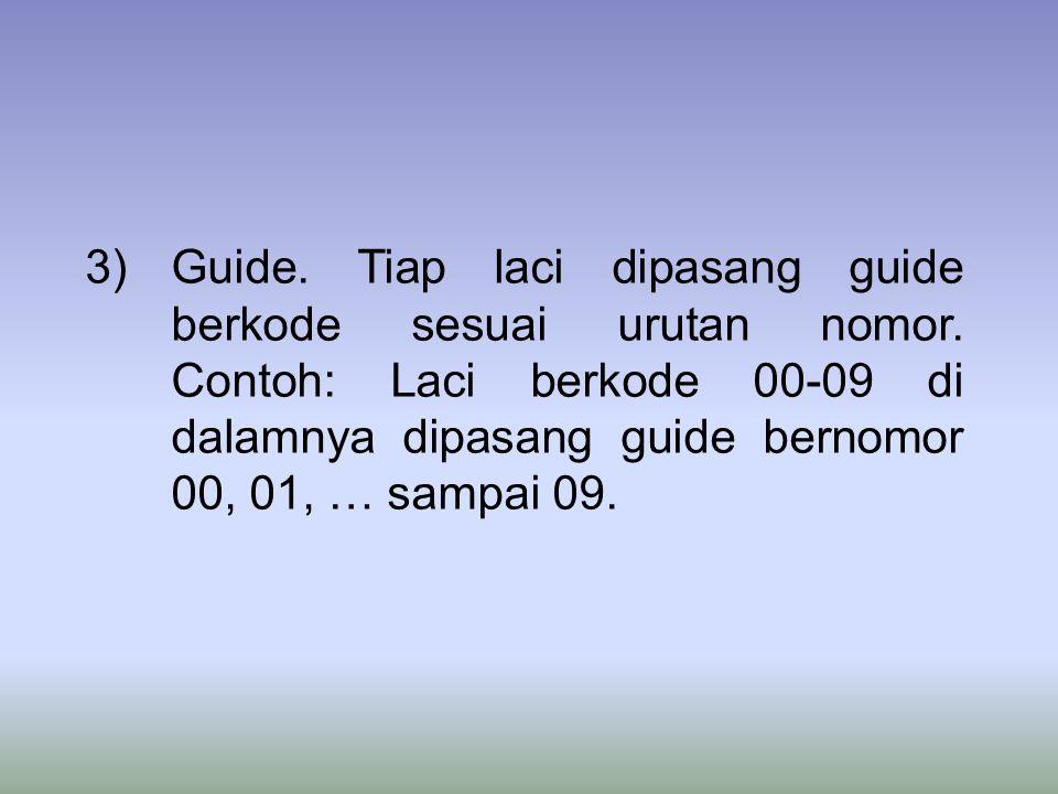 Guide. Tiap laci dipasang guide berkode sesuai urutan nomor