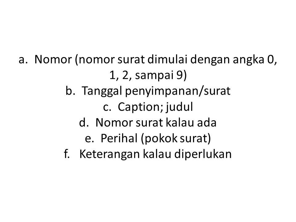 a. Nomor (nomor surat dimulai dengan angka 0, 1, 2, sampai 9) b