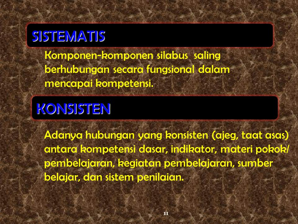 SISTEMATIS Komponen-komponen silabus saling berhubungan secara fungsional dalam mencapai kompetensi.