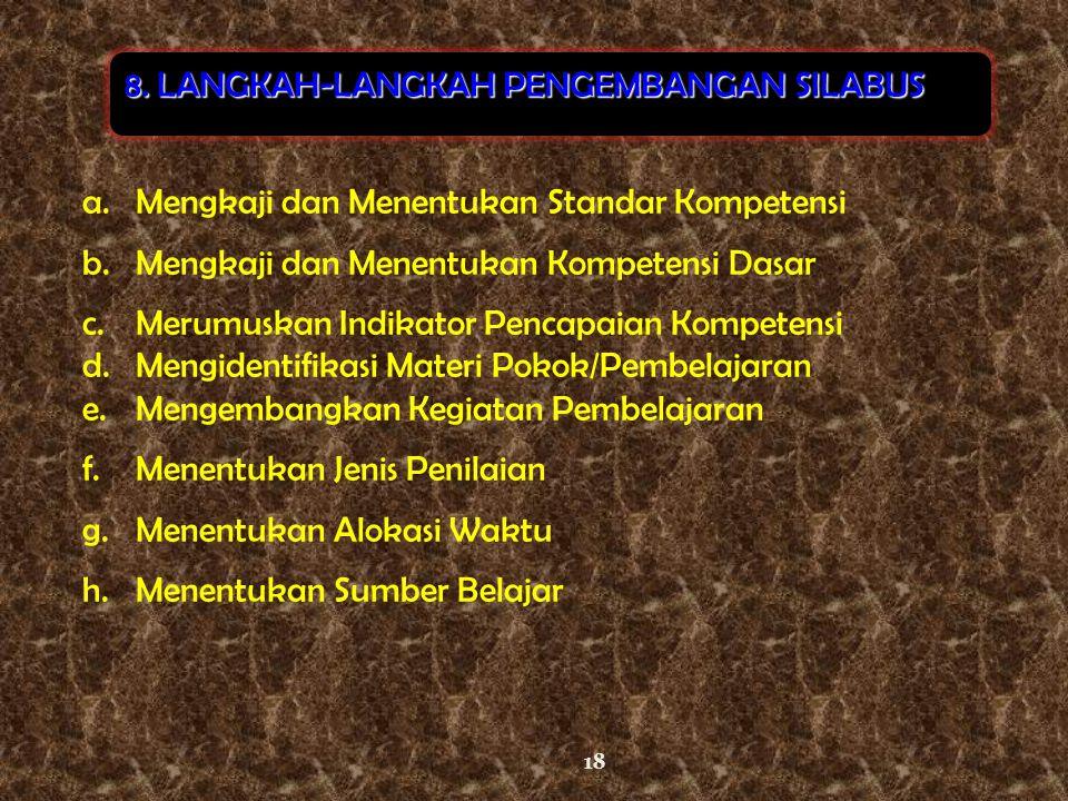 8. LANGKAH-LANGKAH PENGEMBANGAN SILABUS