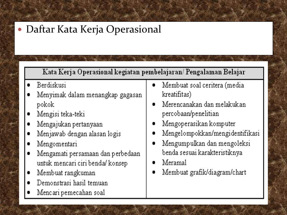 Daftar Kata Kerja Operasional