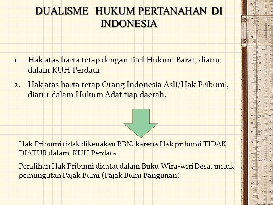 DUALISME HUKUM PERTANAHAN DI INDONESIA