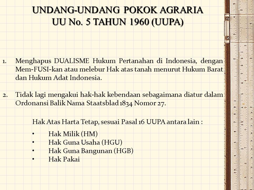 UNDANG-UNDANG POKOK AGRARIA UU No. 5 TAHUN 1960 (UUPA)