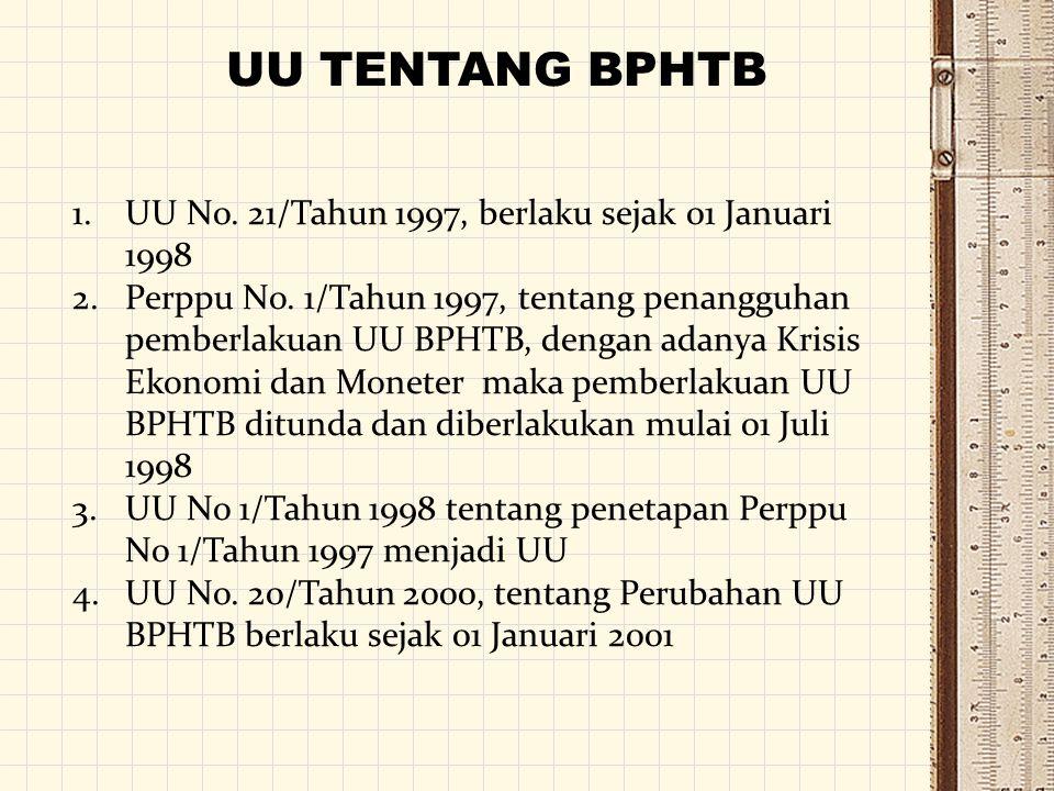UU TENTANG BPHTB UU No. 21/Tahun 1997, berlaku sejak 01 Januari 1998
