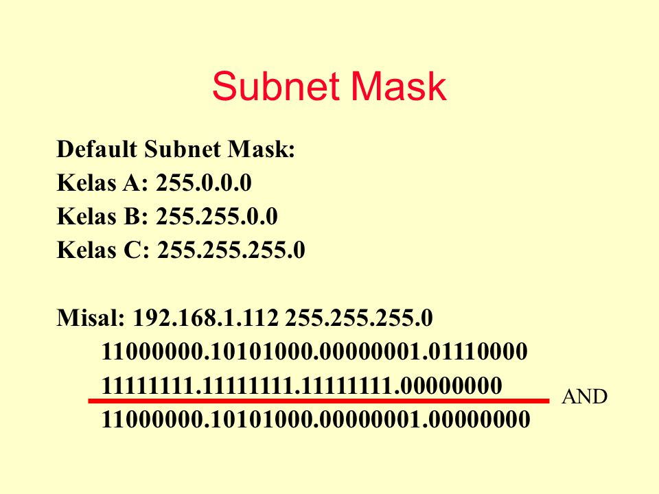 Subnet Mask Default Subnet Mask: Kelas A: 255.0.0.0